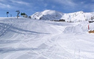 The upper pistes at Reiteralm looking exceptionally well groomed